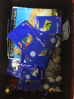 Sale 9152 - Lot 2566 - Box of Postcards, Olympic Pins, Coins & Smurfs