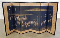 Sale 9179 - Lot 1068 - Japanese Six Panel Screen, painted with the procession scene of a noble (h:78 x w:30cm each panel)