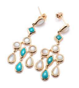 Sale 9253J - Lot 301 - A PAIR OF SILVER GILT TURQUOISE AND MOTHER OF PEARL CHANDELIER EARRINGS; articulated drops collet set with cabochon mother of pearl...