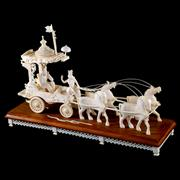 Sale 8000 - Lot 270 - An Indian carved ivory and wooden chariot group drawn by four horses.