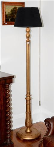 Sale 8088A - Lot 32 - Vintage gilt wood standard lamp with reeded column  --approx. 150 cm tall