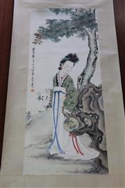 Sale 8189 - Lot 118 - Chinese Water Colour Scroll of a Lady