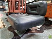 Sale 8493 - Lot 1080 - Oscar Niemeyer Style Alta Chairs with Leather Upholstery over Pitted Chrome Base