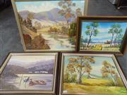 Sale 8557 - Lot 2055 - Group of (4) Original Landscape Paintings by Various Artists