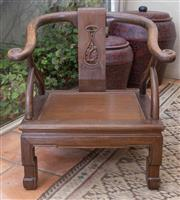 Sale 8550H - Lot 14 - A low profile Chinese horseshoe chair, with carved detail to back, H 76cm