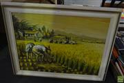 Sale 8563T - Lot 2206 - C.H. Huang - Field Workers, oil on canvas laid on board, 47 x 61.5cm, signed lower right