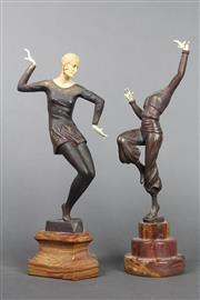 Sale 8654 - Lot 60 - Art Deco Dancing Lady Figure on Marble Base (a.f.) with Another (a.f.)
