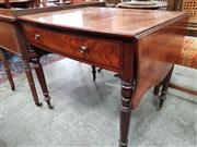 Sale 8728 - Lot 1019 - Regency Mahogany Cross-Banded Sofa Table, of slightly bowed form, the leaves serpentine shaped, with a long drawer & on turned legs