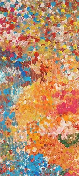Sale 9188A - Lot 5067 - JANET GOLDER KNGWARREYE (1973 - ) - Yam Flower 95 x 42 cm (stretched and ready to hang)