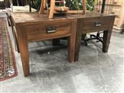 Sale 8893 - Lot 1050 - Pair of Brown Oak Lamp Tables with Single Drawer