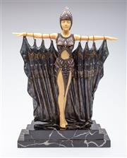 Sale 9040 - Lot 91 - A Reproduction Composite Figure of A Performer on Marble Base (H 49cm W 31cm)