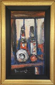 Sale 9044J - Lot 45 - Pro Hart - View through the Window 81x44cm,
