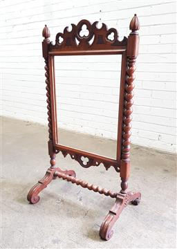 Sale 9126 - Lot 1118 - Victorian Mahogany Tapestry or Firescreen, (lacking panel), having Gothic trefoil elements & barley twist columns and stretcher (h11...
