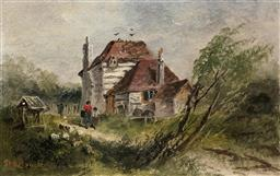 Sale 9123J - Lot 175 - Sarah Louise Kilpack (British 1840-1909) An Old Cottage near Lyminge Kent Oil on board Height 11cm x Width 17cm Framed Size: Height ...