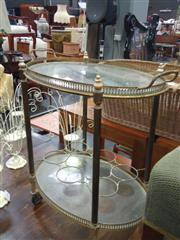 Sale 7969A - Lot 1017 - Glass and Brass Serving Trolley