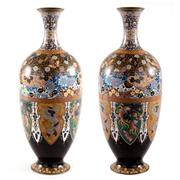 Sale 8000 - Lot 286 - A pair of Meiji cloisonné vases with alternating lappet panels of dragons and phoenix.