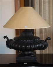 Sale 7984 - Lot 85 - A Classical style compressed urn shaped lamp with shade.