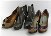 Sale 8087B - Lot 371 - THREE PAIRS OF BOSS ORANGE LEATHER SHOES AND BOOTS; grey ankle boots (as new), tri colour and peep toe, all size37