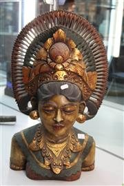 Sale 8296 - Lot 22 - Thai Bust of a Woman with gilt Highlights