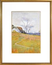 Sale 8389 - Lot 525 - Sydney Long (1871 - 1955) - Pastoral Landscape 43.5 x 29.5cm
