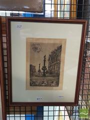 Sale 8548 - Lot 2127 - Artist Unknown, Grand Entrance, Etching, signed 33x16cm