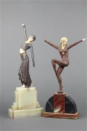 Sale 8654 - Lot 35 - Art Deco Dancing Lady Figure on Marble Base (a.f.) with Another (a.f.)