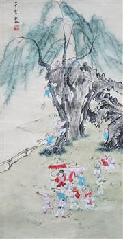 Sale 8821A - Lot 5064 - Chinese School - Children at Play, c1900 78 x 39.5cm