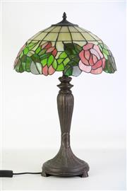 Sale 8905S - Lot 692 - A Tiffany style table lamp with leadlight shade. Height 70cm