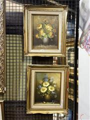 Sale 8910 - Lot 2028 - A Pair of floral Still Life paintings, 37 x 22 cm each
