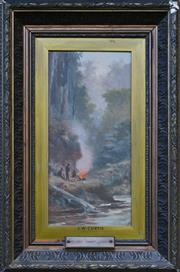 Sale 8940J - Lot 71 - James Waltham Curtis (c1839 - 1901)- By the Camp Fire, oil on board, 37x17cm, signed lower right.