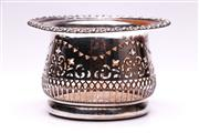 Sale 9081 - Lot 94 - Victorian Period Silver on Copper Wine Bottle Coaster with pierced body and wooden base (H11cm W18cm)
