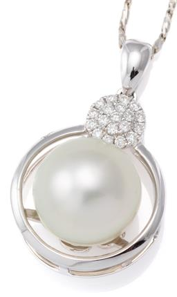 Sale 9124 - Lot 465 - AN 18CT WHITE GOLD PEARL AND DIAMOND PENDANT NECKLACE; featuring an 11mm near round cultured pearl of good colour and lustre to a wh...