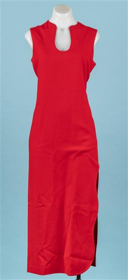 Sale 9092F - Lot 62 - A CARLA ZAMPATTI ANKLE-LENGTH RED DRESS. Scalloped-split to thigh on side. Shaped neckline. Lined. Size 8-10.