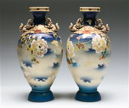 Sale 9138 - Lot 98 - Pair of Satsuma Twin Lion Handled Vases featuring Swallows in Foliage (H:31.5cm)