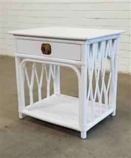 Sale 9151 - Lot 1301 - Cane bedside with a single drawer (h:51 w:50 d:60cm)