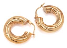 Sale 9160 - Lot 308 - A PAIR OF 9CT GOLD HOOP EARRINGS; 6mm wide hollow twist hoops to lever fittings, length 21mm, wt. 3.26g.