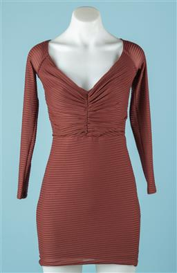 Sale 9165H - Lot 117 - A brown Bec+Bridge Long sleeve dress with ruffles to top size 8