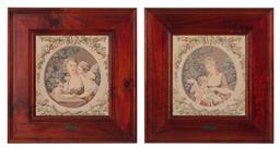 Sale 9190H - Lot 218 - A pair of needlepoints of cupid scenes. Clancy haven snowy river frames, frame size 56cm x 53cm