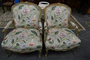 Sale 8115 - Lot 1203 - Pair Of Gilt Framed Armchairs In Floral Upholstery