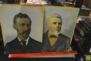 Sale 8214 - Lot 2080 - Pair Of Hand-Painted Photographic Portraits, various sizes, details on verso