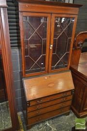 Sale 8282 - Lot 1039 - Edwardian Inlaid Mahogany Bureau Bookcase, with two astragal doors, conch shell inlay & four drawers with satinwood banding (key in...