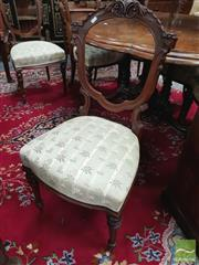 Sale 8416 - Lot 1013 - Set of Six Victorian Carved Walnut Chairs, the balloon backs with points, striped floral seats & turned legs