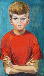Sale 8558 - Lot 527 - Elaine Haxton (1909 - 1999) - Untitled, 1959 (Portrait of a Boy) 61 x 36cm