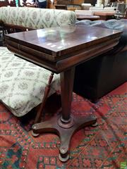 Sale 8576 - Lot 1011 - Unusually Compact Early Victorian Rosewood Card Table, with replaced blue baize interior, on inverted faceted pedestal & quadraform...