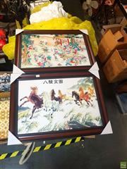 Sale 8645 - Lot 2077 - Pair of Chinese Artworks on Tiles, Including Horses & Children