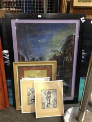Sale 8767 - Lot 2101 - Group of Assorted Original Paintings by Various Artists: Dancing Brolga, Urban Street Scene, Parrot, and Figures Surrealscapes -