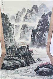 Sale 8913C - Lot 9 - Mountain themed Chinese scroll, with magazine