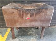 Sale 8956 - Lot 1011 - Vintage Well Worn Butchers Block with solid top. (H:86 x W:94 x D:52cm)