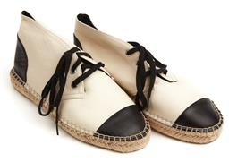 Sale 9092F - Lot 56 - A PAIR WITCHERY CREAM AND BLACK LEATHER ESPADRILLES; size 7, unworn, original box.