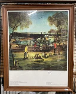 Sale 9135 - Lot 2072 - Pro Hart Refuelling the Southern Cross, photolithograph, frame: 69 x 56 cm, signed -